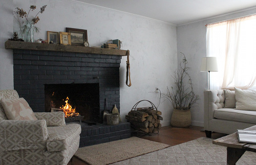 Black Brick Fireplace White Room
