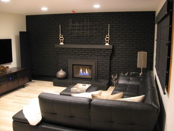 Bold Black Fireplace