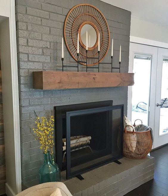 Bold Painted Fireplace with Wood Mantel