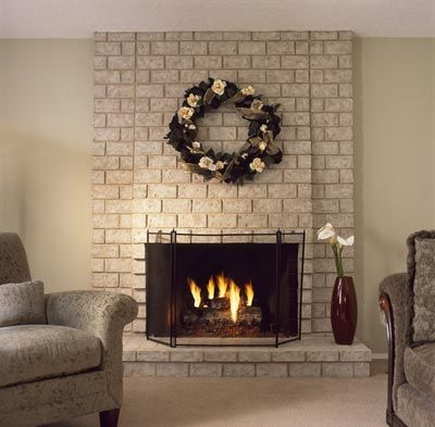 Natural Brick Look Fireplace