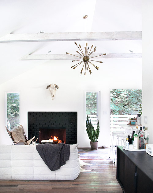 White Fireplace With Black Firebox