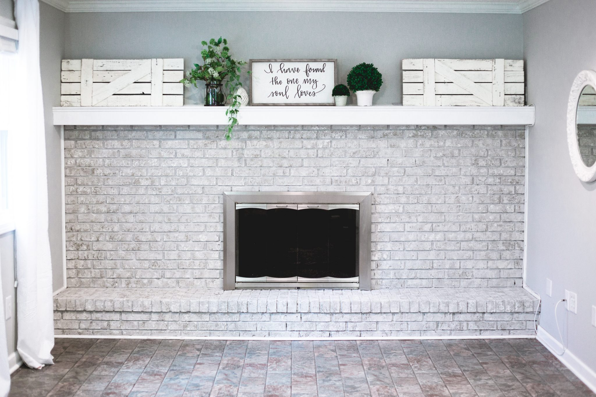 Natural Paint Real Brick Fireplace